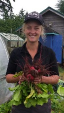 Camille Green, Good Cheer Garden Manager, with our season's first beets.
