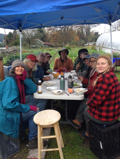 A rainy picnic lunch with good friends